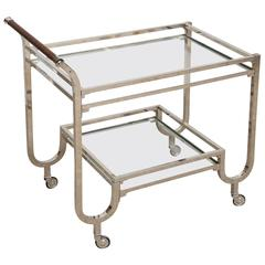 Art Deco Hungarian Chrome Glass Bar Cart