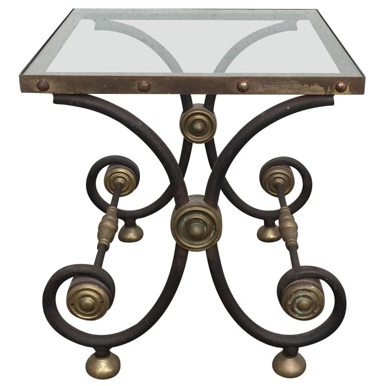French Iron and Brass Side Table 1
