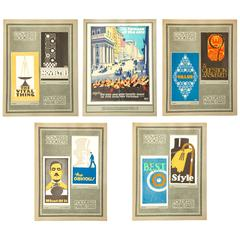 Set of Five Art Deco Paper Mounted Advertising Proofs