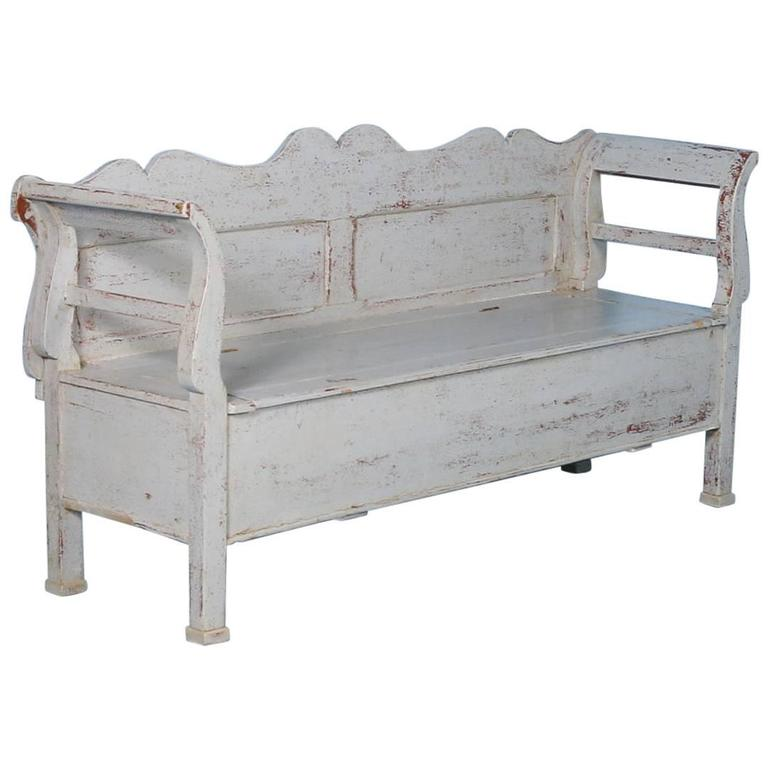 Antique Pine Storage Bench With Original Grey Paint Hungary Circa 1860 At 1stdibs