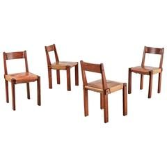 Pierre Chapo Set of Four Elm and Leather Dining Chairs, France, 1960s