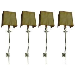 Four French 1930s Large Silver Plated Modern Neoclassical Sconces
