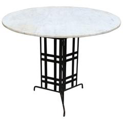 Marble Bistro Café Table with Architectural Wrought Iron Base