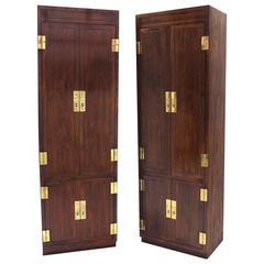 Pair of Henredon Storage Cabinets with Brass Hardware