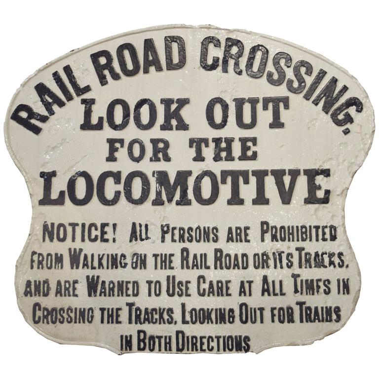 American Cast Iron Double-Sided Railroad Sign