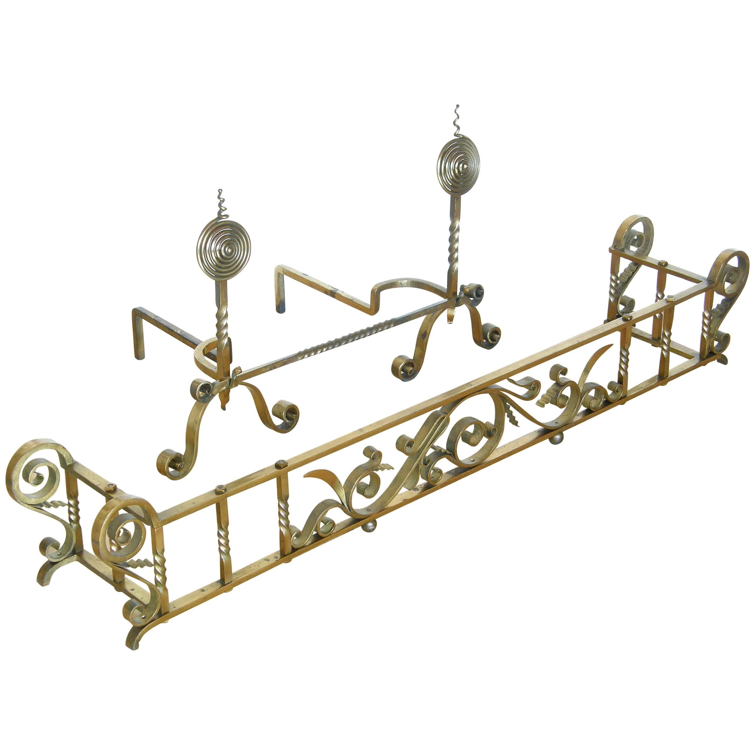 Brass Plated Hand-Wrought Iron Andirons and Fireplace Fender