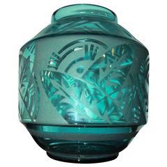 Art Deco Etched Turquoise Daum Nancy Glass
