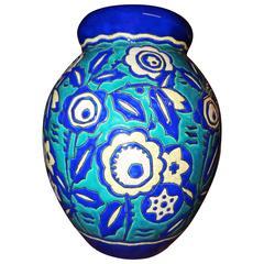 Catteau Ceramic Cloisonne Boch Vase