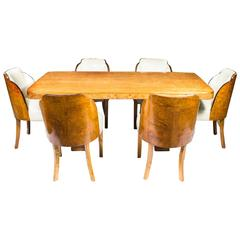 Antique Art Deco Dining Table and Six Cloudback Chairs, circa 1930