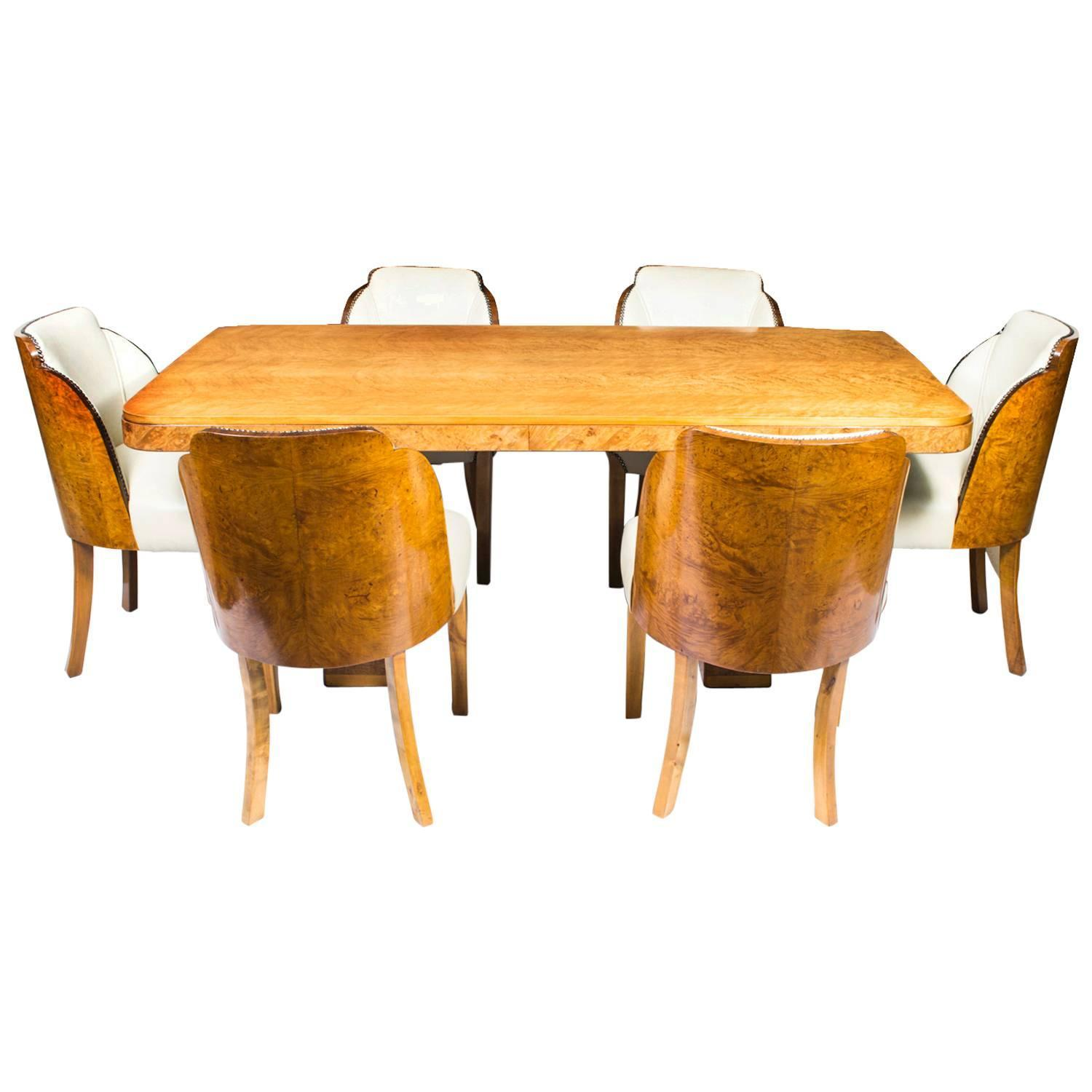 Antique Art Deco Dining Table and Six Cloudback Chairs