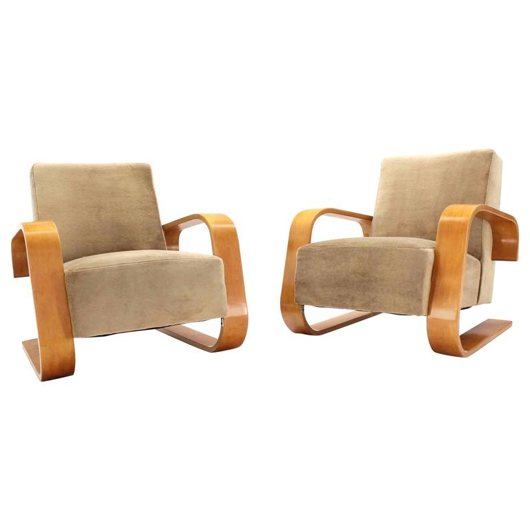 early alvar aalto tank chairs newly upholstered in mohair fabric at