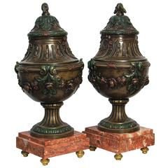 Pair of Small Decorative Art Nouveau Urns, circa 1910