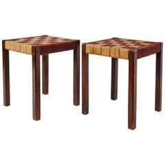 Axel Larsson Pair of Webbed Stools for SMF, Bodafors, Sweden, 1920s