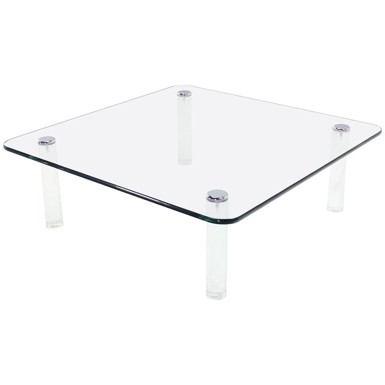Large Square 3/4 Glass Top Coffee Table on Lucite Cylinder  Legs