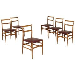 Six Leggera Chairs by Gio Ponti for Cassina Ash, Foam, Leatherette, Italy 1950s