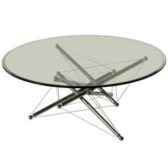 Glass and Chromed Metal Coffee Table by Waddel for Cassina Italy 1970s-1980s