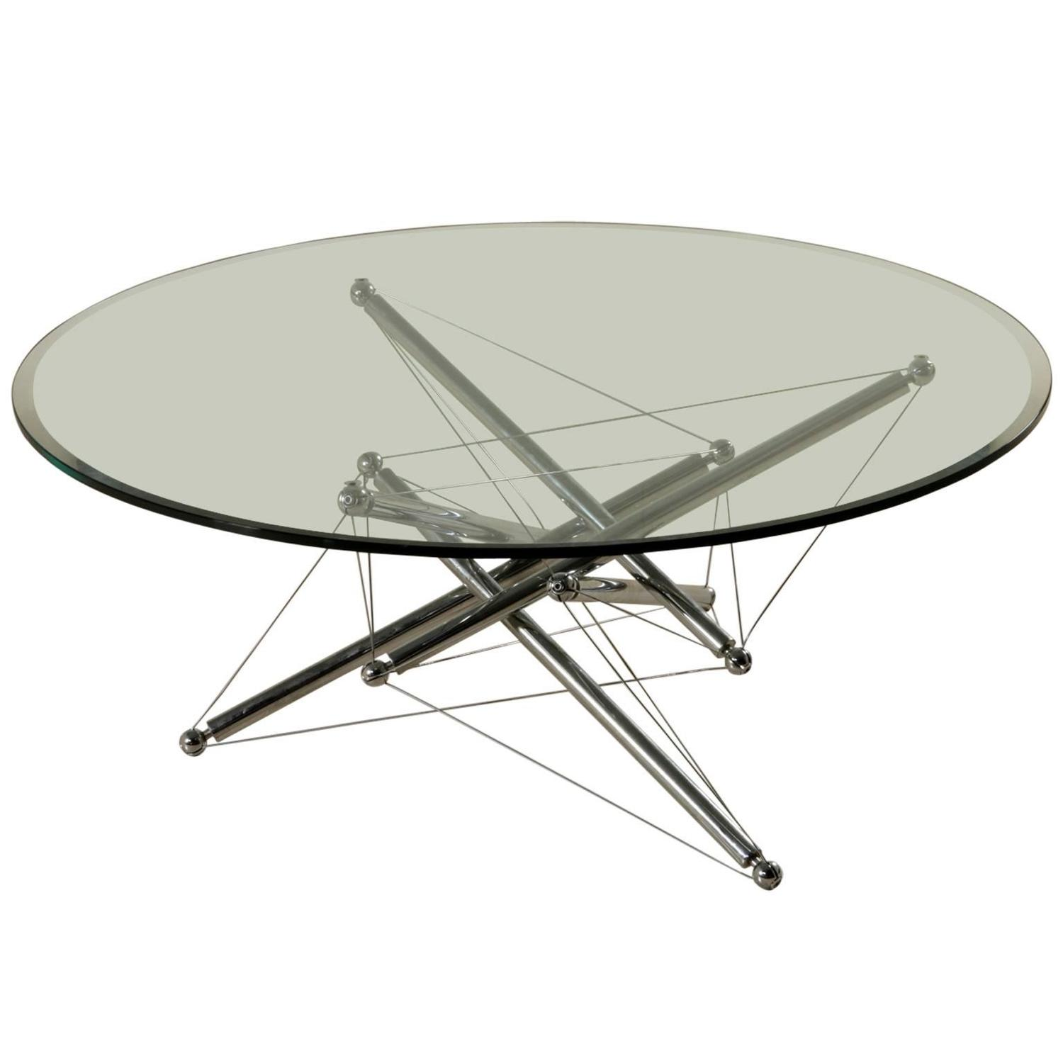 Glass And Chromed Metal Coffee Table By Waddel For Cassina Italy 1970s 1980s At 1stdibs