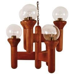 Mod Oak and Glass Six-Light Chandelier