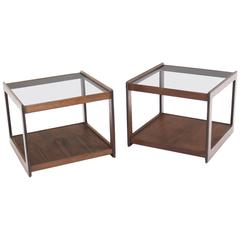 Pair of Cube Shape Walnut Glass Top End Tables