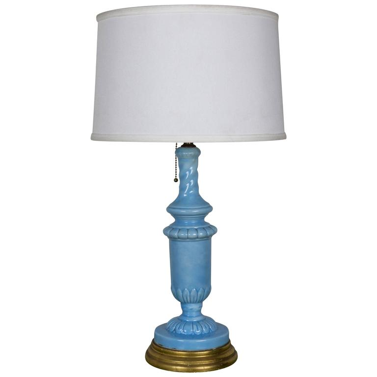 European Periwinkle Blue Ceramic Table Lamp with Giltwood Base For ...