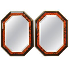 Pair of Black Lacquer Octagonal Mirrors by Dolbi