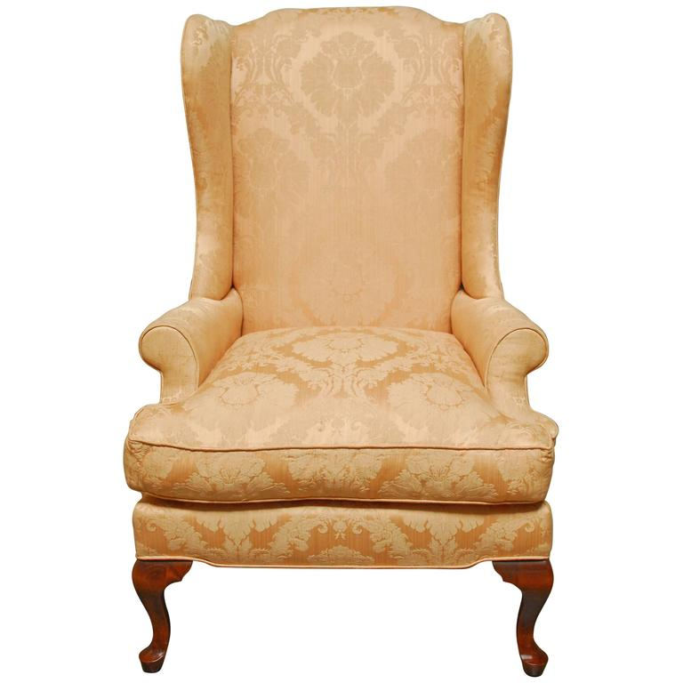 Queen Anne Mahogany Wing Chair For Sale at 1stdibs