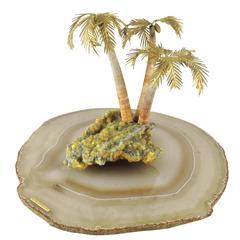 18 K. Carat Gold Objet D'art - Agate & Quartz Island Oasis by Andrew Grima, 1972