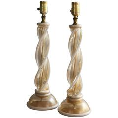 Pair of Murano Glass Twist Table Lamps Attributed to Barovier & Toso