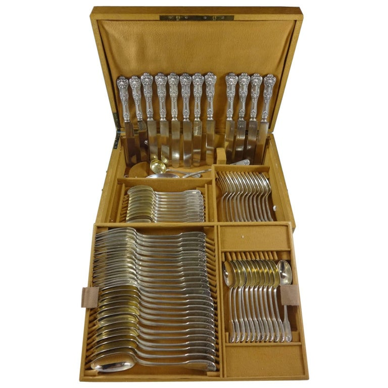 Kings by Campenhout French Sterling Silver Flatware Set Service 75 PC Fitted Box For Sale