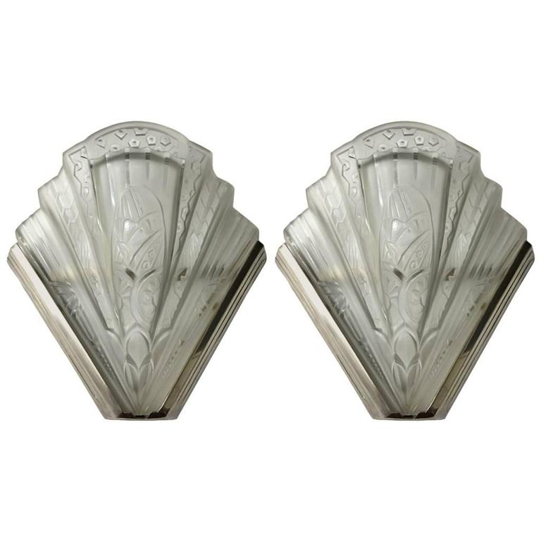 Pair of Frontisi Flower Wall Sconces French Art Deco For Sale at 1stdibs