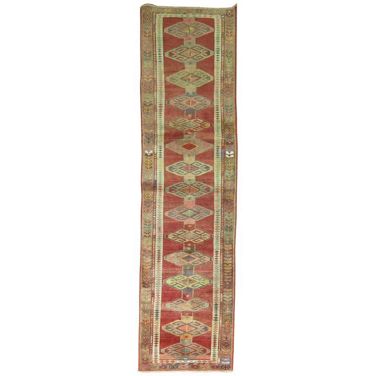 Armenian Antique Rugs: Mid-Century Armenian Kurd Style Runner For Sale At 1stdibs