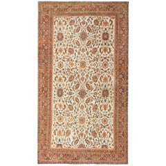 Large Ivory Background Antique Persian Sultanabad Rug. Size: 10 ft x 17 ft
