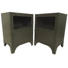 Pair of Industrial Style Painted Nightstands