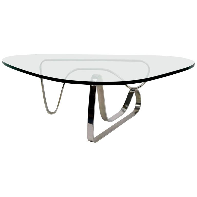 Noguchi Style Coffee Table With Stainless Steel Base For