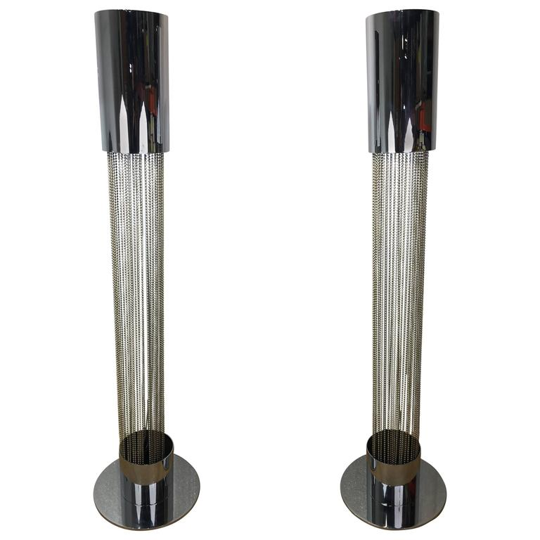 Pair of Chrome Floor Lamps by Pierre Cardin