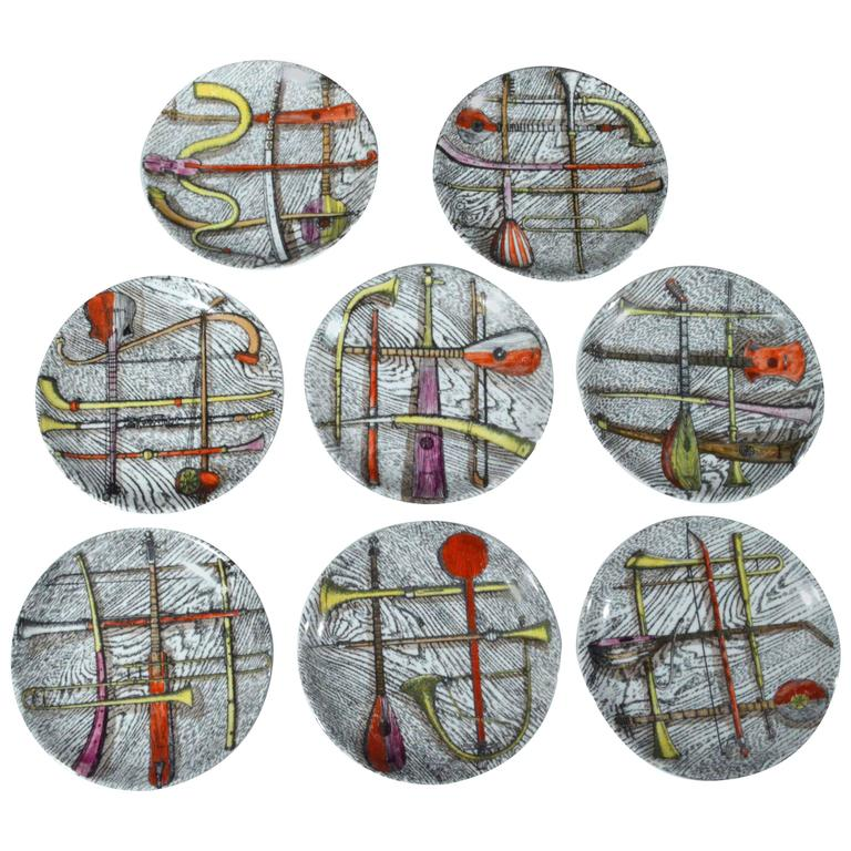 Piero Fornasetti Orchestra Coasters in a complete Set of eight., For Sale