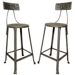 Pair of Toledo Style Industrial Factory Stools