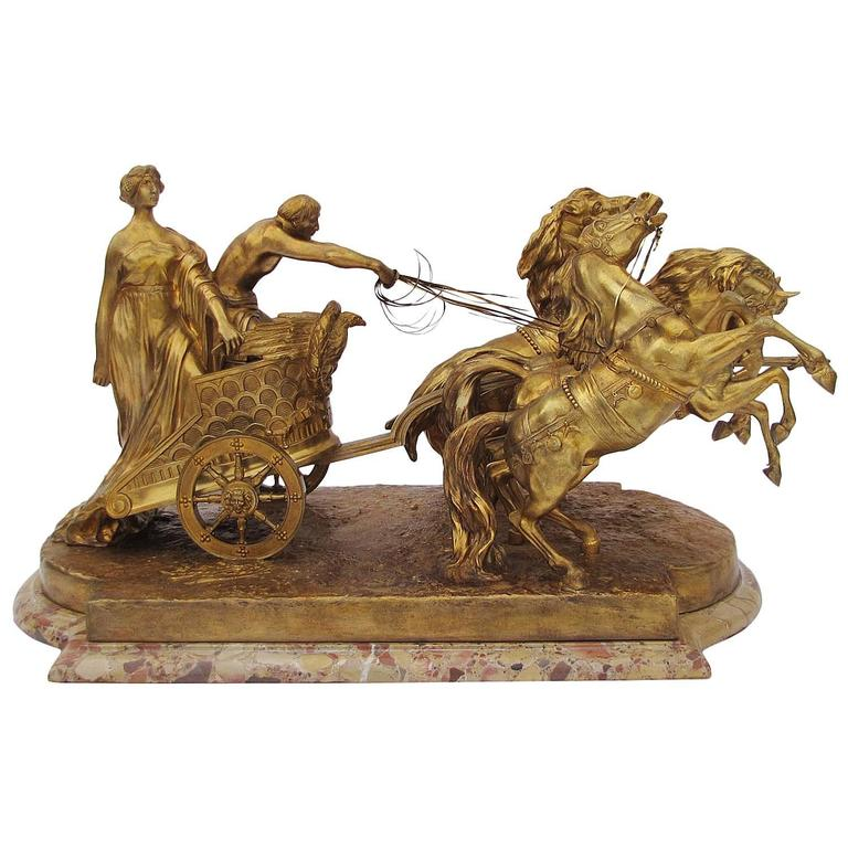 Luigi Belli Large 19th Century Gilt Bronze Quadriga Chariot