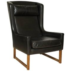 Mid-20th Century Black Leather Wing Chair, Cross Stretcher, Square Legs