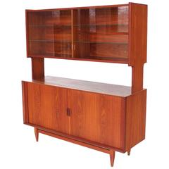 Danish Modern Teak Tambour Door Credenza with Bookcase Hutch