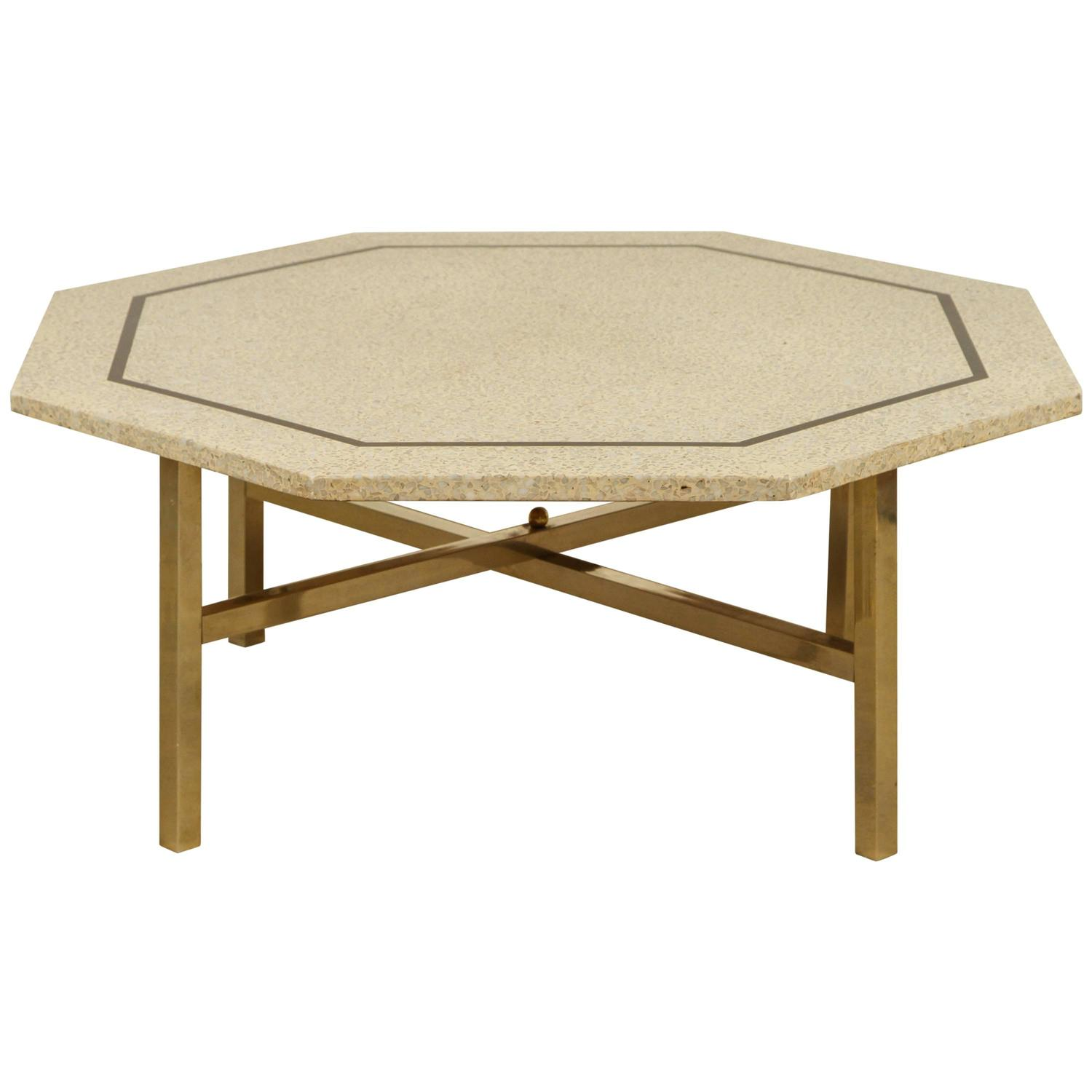 Terrazzo And Brass Cocktail Table By Harvey Probber At 1stdibs