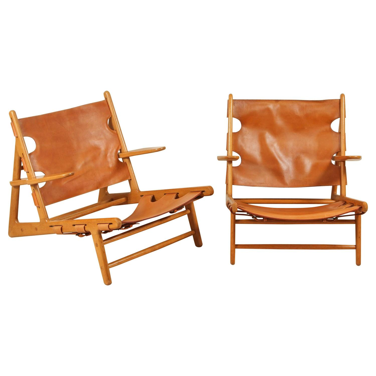 Pair of Leather Hunting Chairs by B¸rge Mogensen at 1stdibs