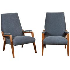 Pair of Sculptural Italian Fruitwood Armchairs