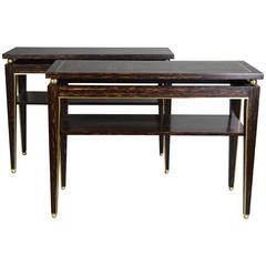 Brass-Mounted Pair of Palmwood Console Tables by Gerard Ferretti