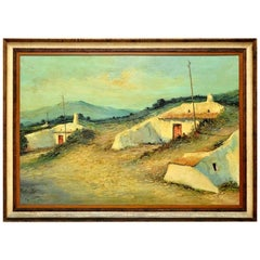 Vintage Landscape Painting Oil Canvas Cave Houses, Spanish, circa 1974