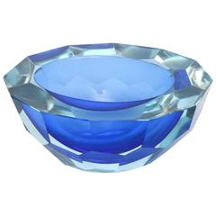 Italian Murano Sommerso Diamond Faceted Flat Cut Polished Glass Geode Bowl