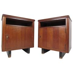 Pair of Mid-Century Nightstands with Finished Back