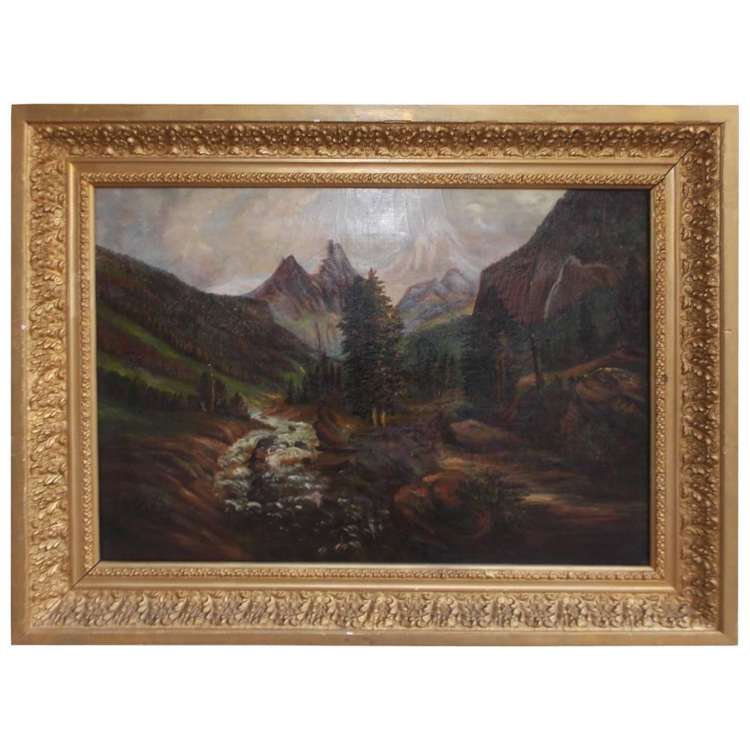 American Oil on Canvas of Landscape in Original Gilt Frame, Circa 1870