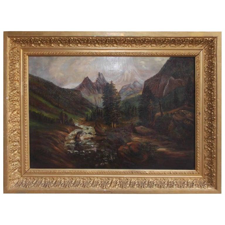 American Oil on Canvas of Landscape in Original Gilt Frame, Circa 1870 For Sale