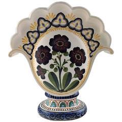 Aluminia Copenhagen Faience Bouquetiere / Vase, Hand-Painted with Floral Motifs